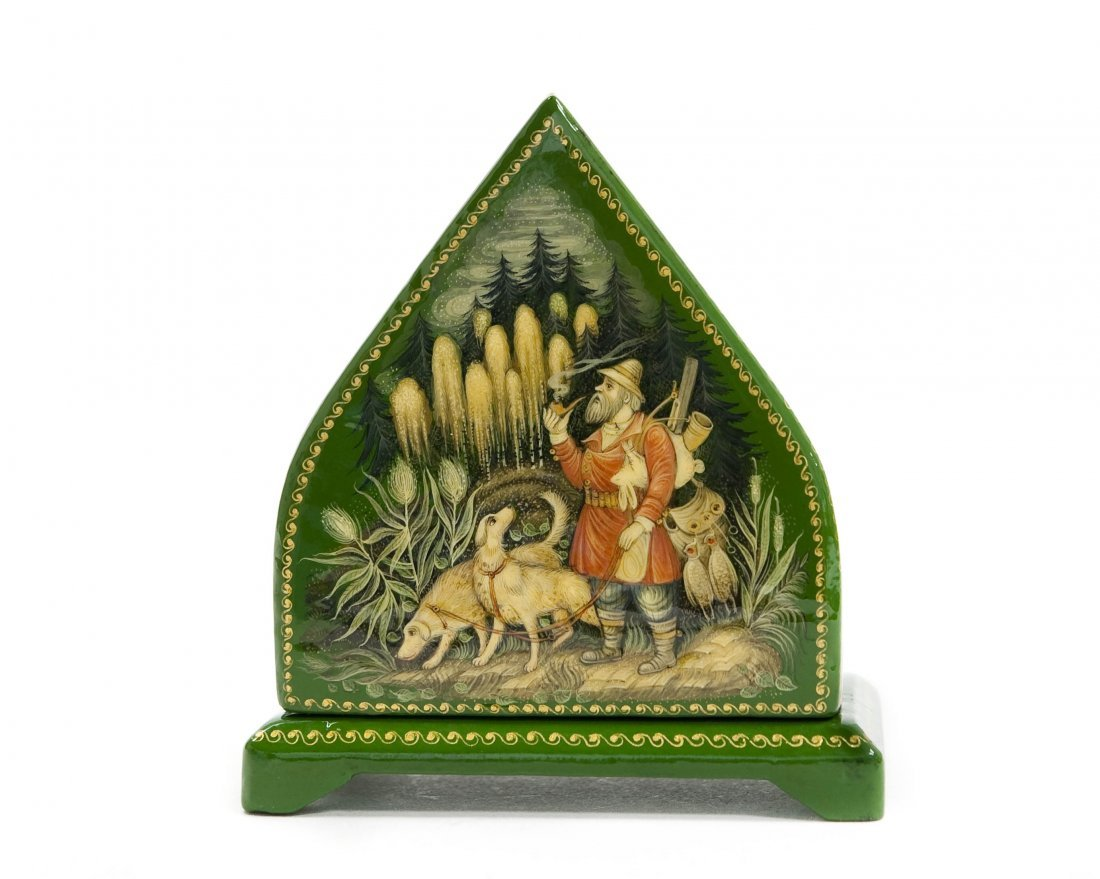 Palekh Russian Green Lacquer Box.
