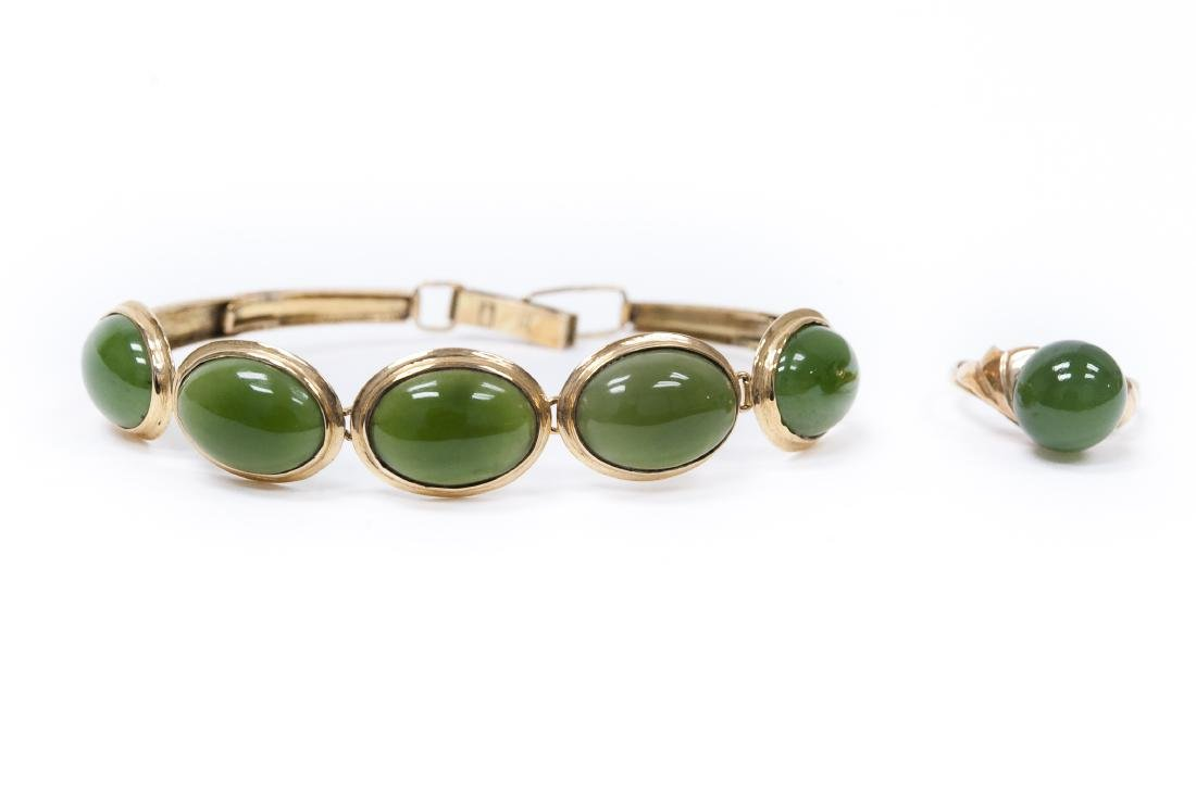 14K Yellow Gold & Jade Bracelet and Ring.