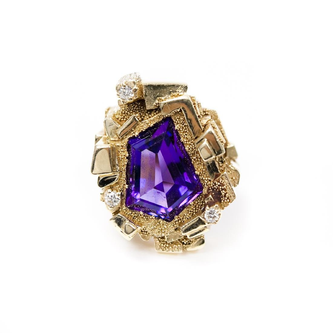 14K Yellow Gold, Amethyst & Diamond Ring.
