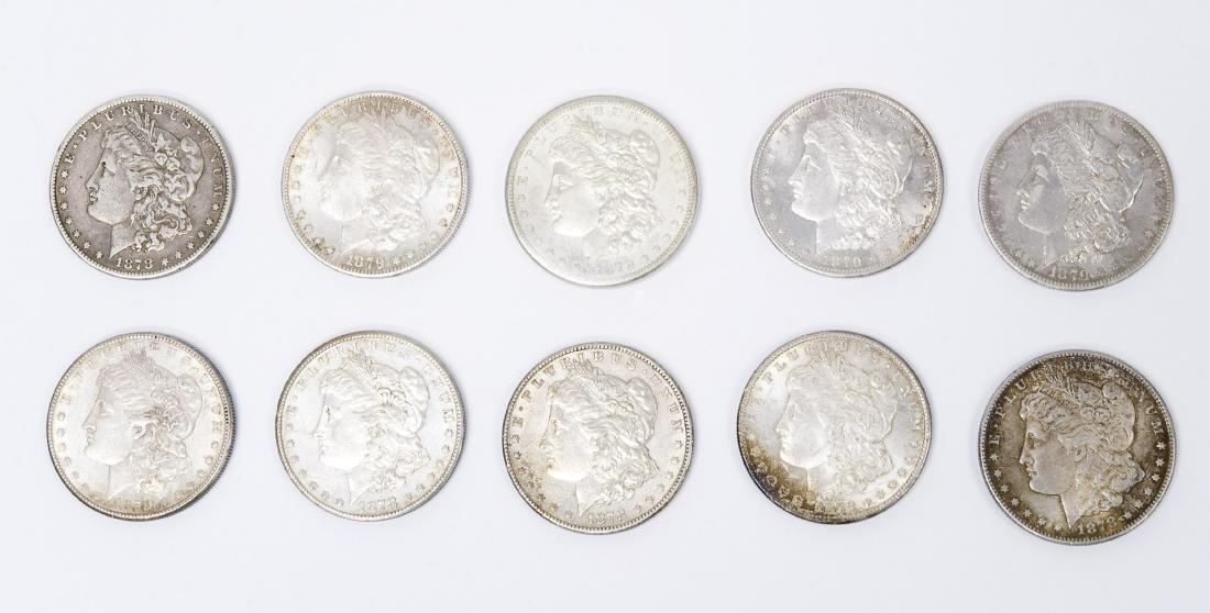 (10) Morgan Silver Dollars. 1878 & 1879.
