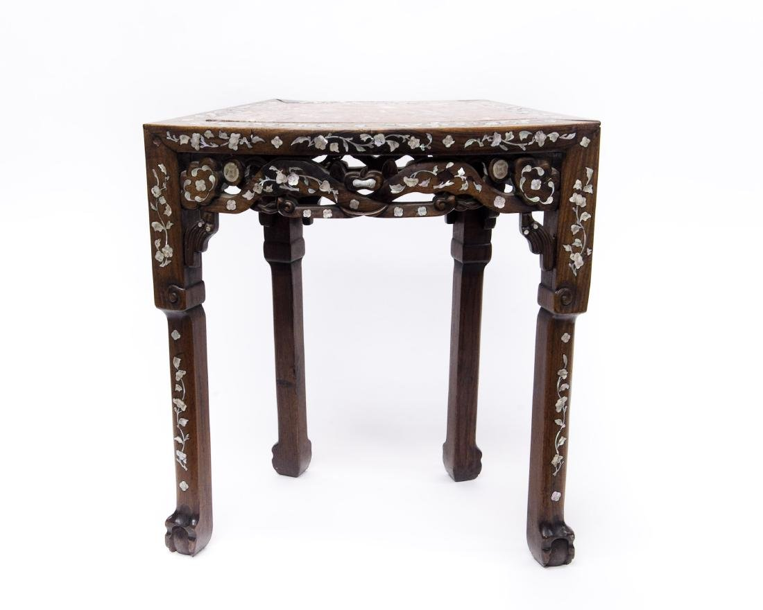 Oriental Rosewood Side Table with Inlay.
