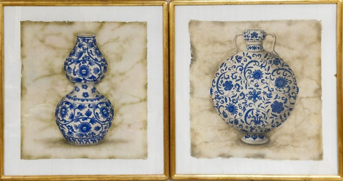 (2) Framed Paintings of Oriental Vases.