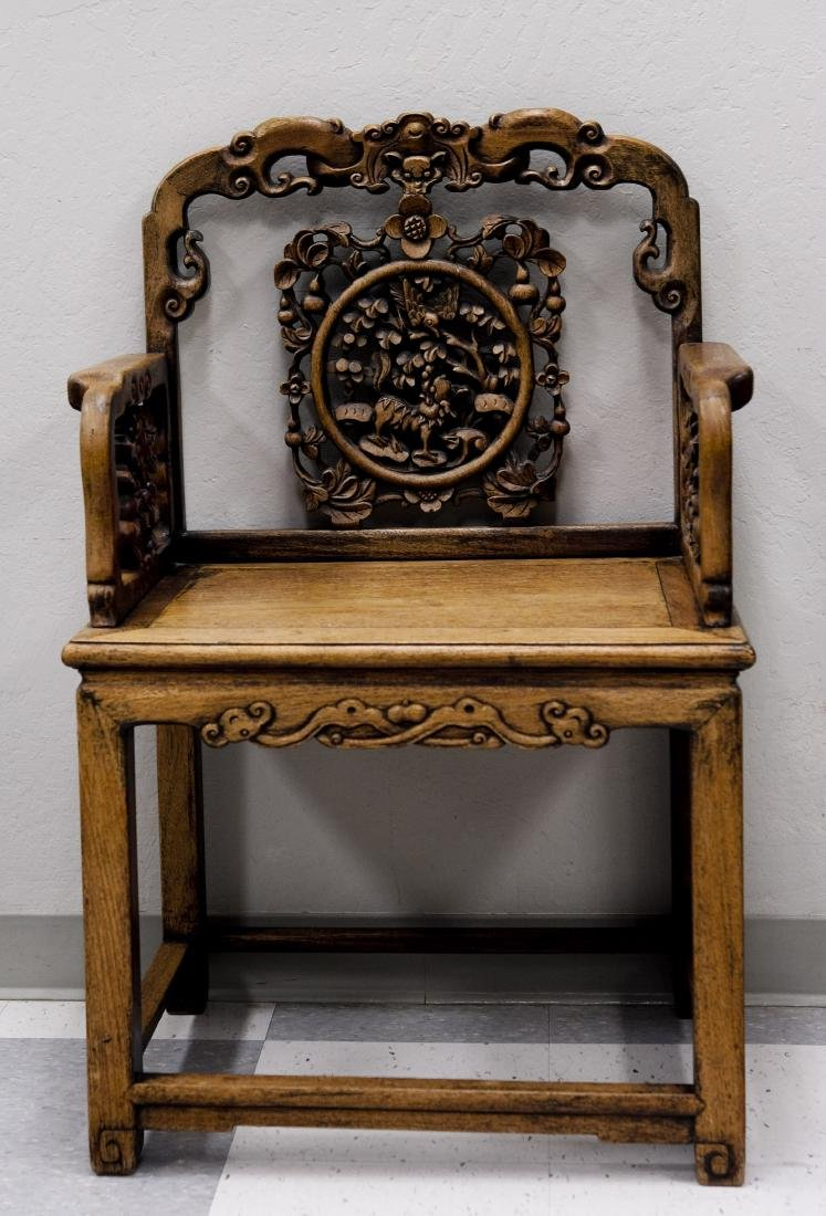 Chinese Carved Hard Wood Armchair.