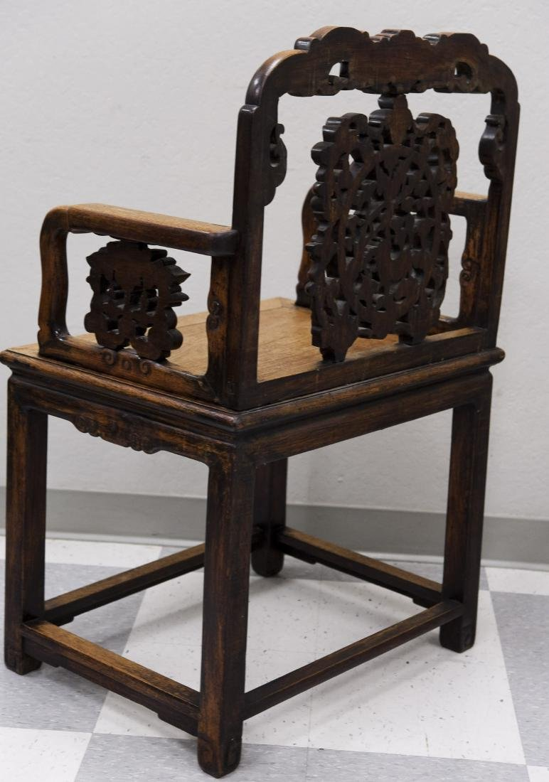 Chinese Carved Hard Wood Armchair. - 2