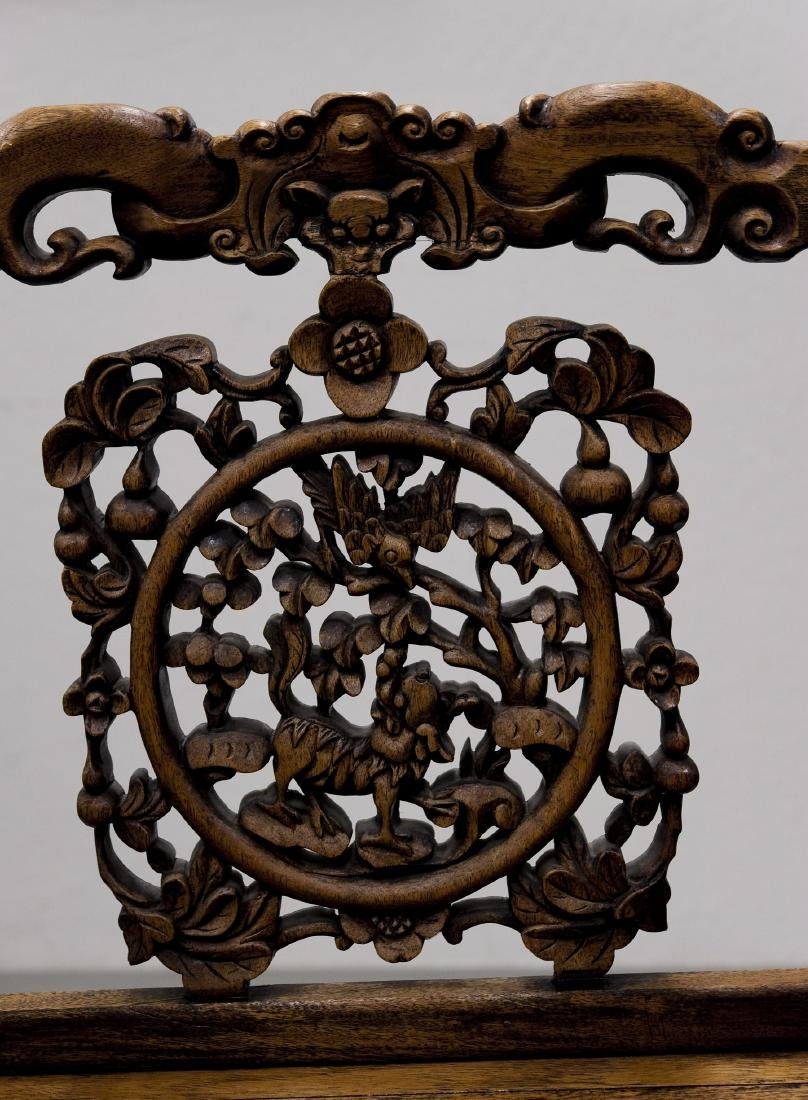 Chinese Carved Hard Wood Armchair. - 5