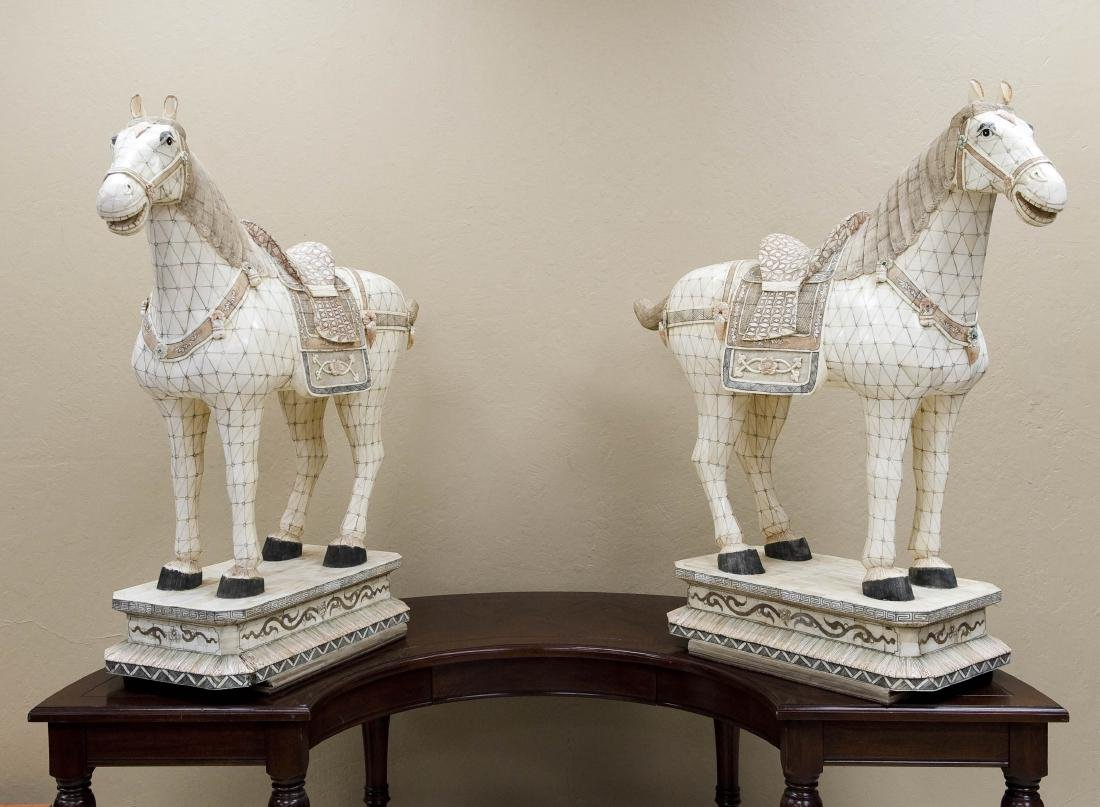 Pair of Carved Bone Large Horse Figures.