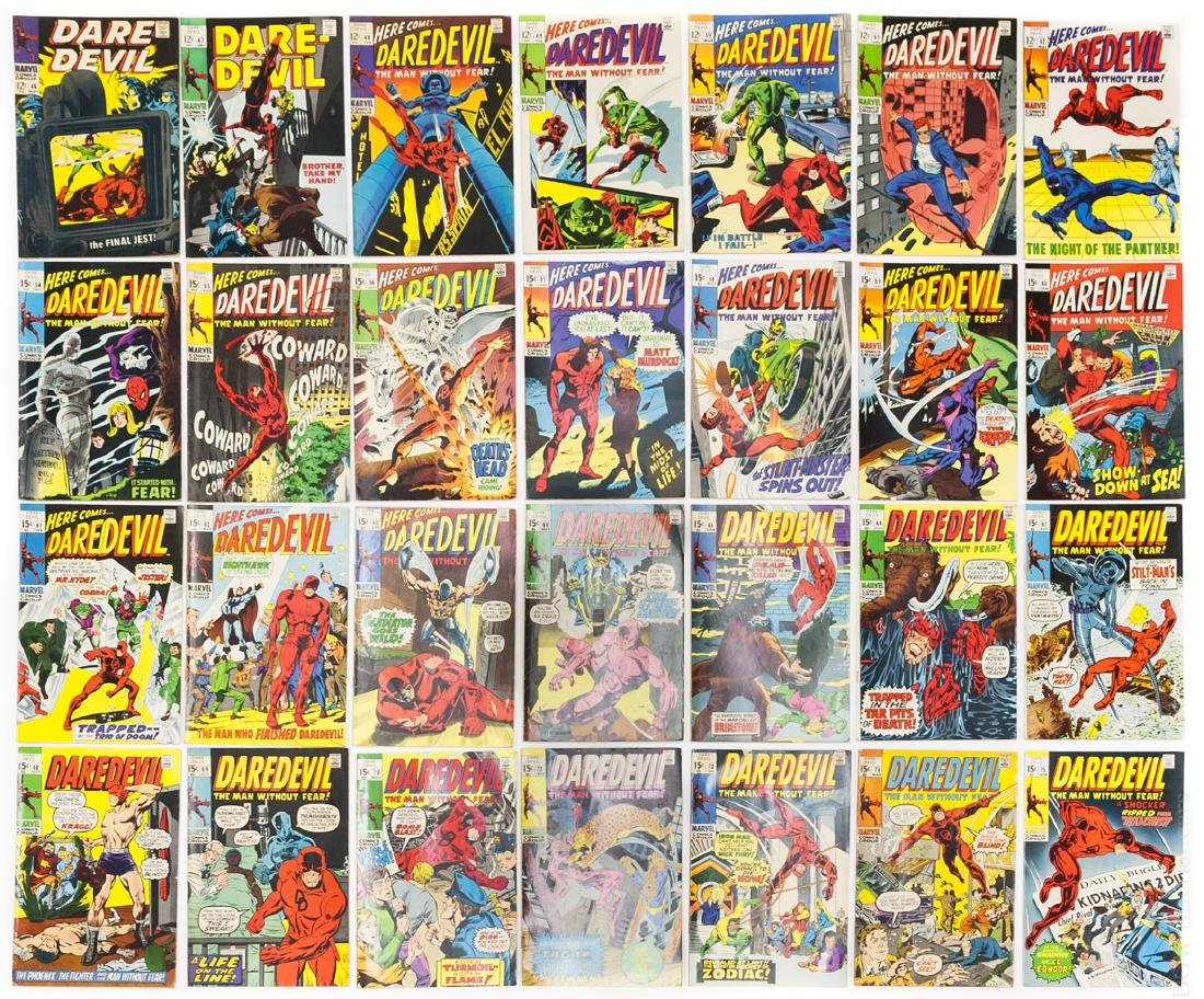 (28) Vintage Marvel Daredevil Comics.