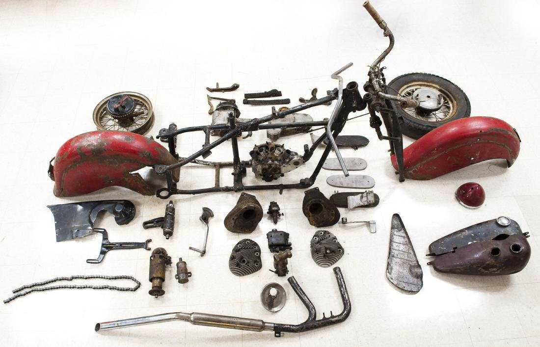 1946 Indian Chief Sportsman Motorcycle (in parts).