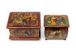 2 Palekh Russian Red Lacquer Boxes