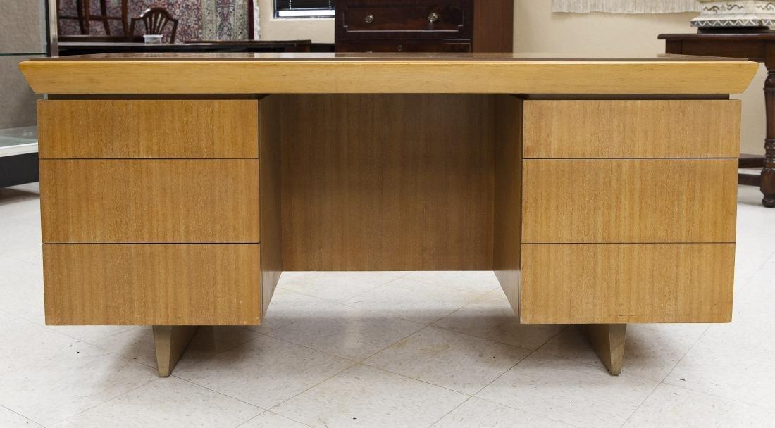 Brown Saltman Modernist 5-drawer Desk.
