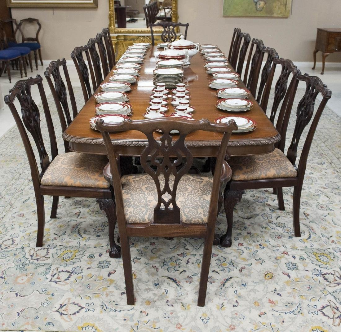 Chippendale Style Dining Table & 14 Chairs.