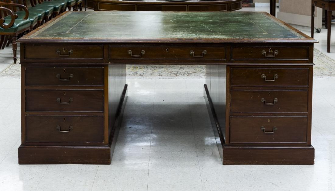 Circa 1900 Mahogany Partner's Desk.