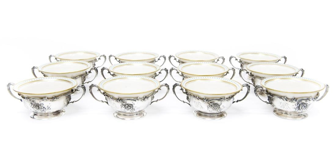(12) Mauser Sterling Silver Framed Dessert Dishes.