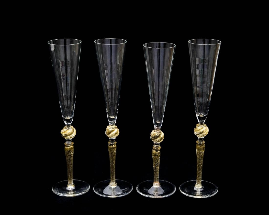 Set Of (4) Tall Gucci Art Glass Champagne Flutes.