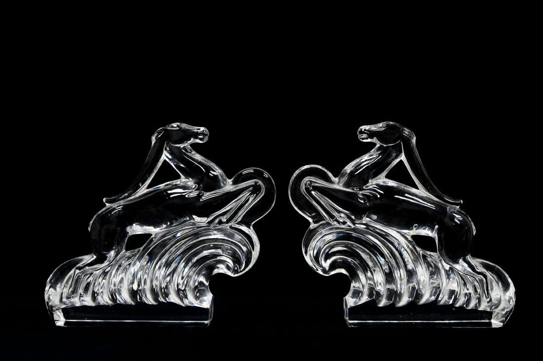 Pair Of Steuben Art Deco Style Antelope Bookends.