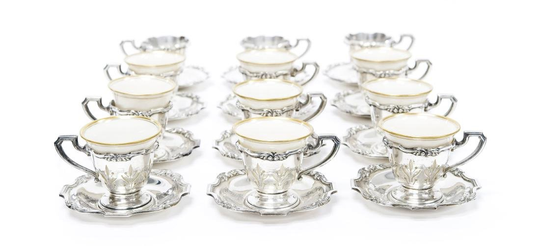 Set Of (12) Sterling Silver And Lenox Porcelain
