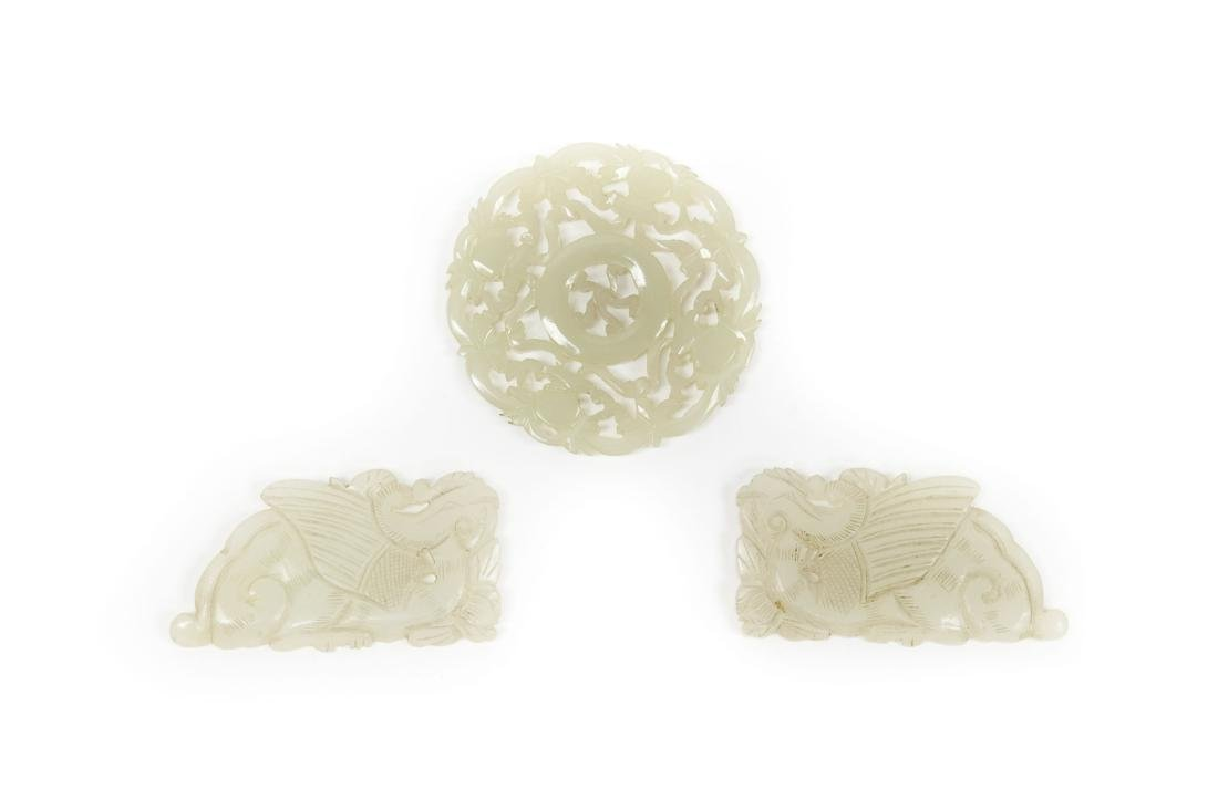 (3) Chinese Carved Jade Pendants.
