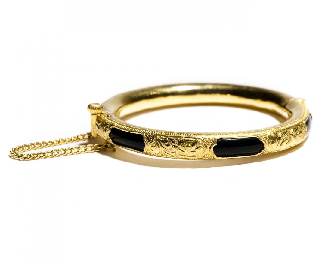 Chinese Yellow Gold Bangle Bracelet.