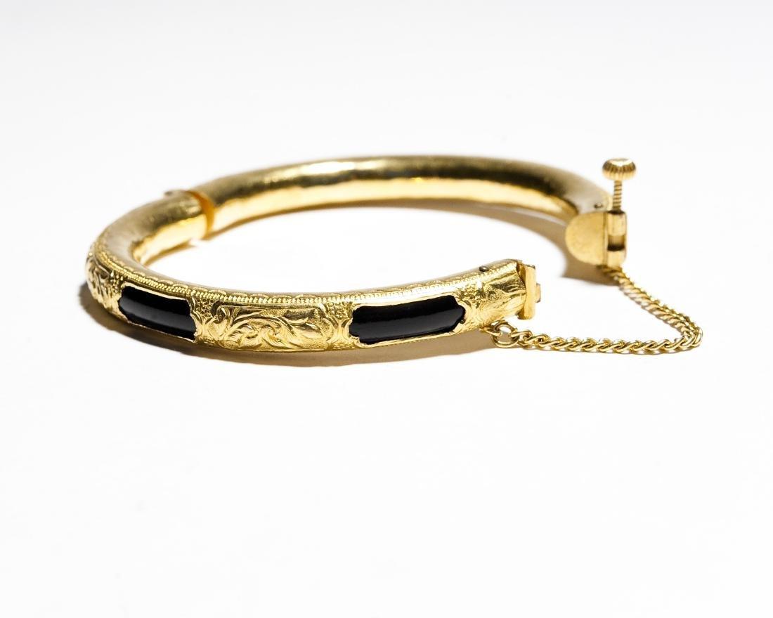 Chinese Yellow Gold Bangle Bracelet. - 2