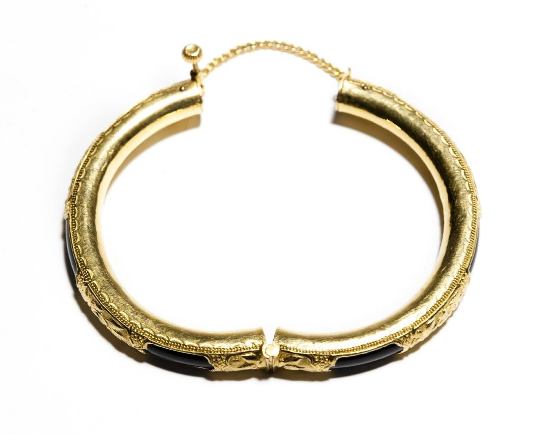 Chinese Yellow Gold Bangle Bracelet. - 3