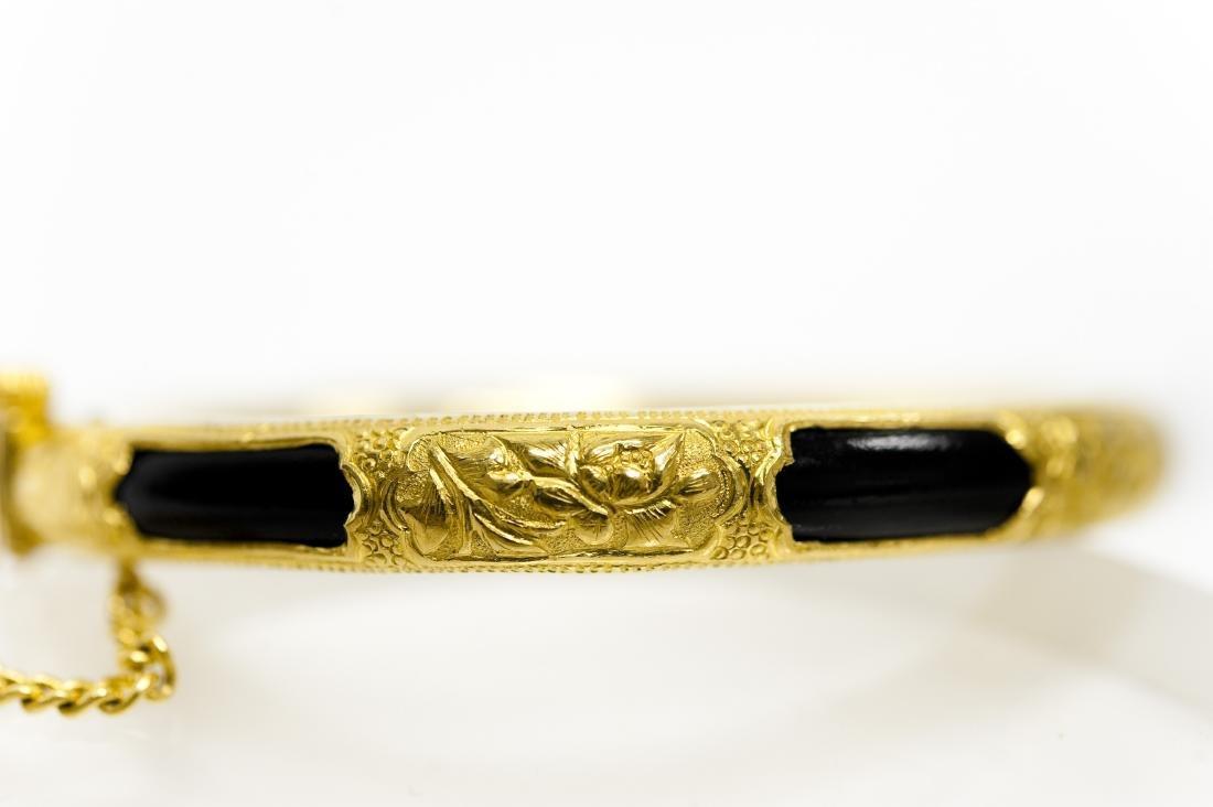 Chinese Yellow Gold Bangle Bracelet. - 5
