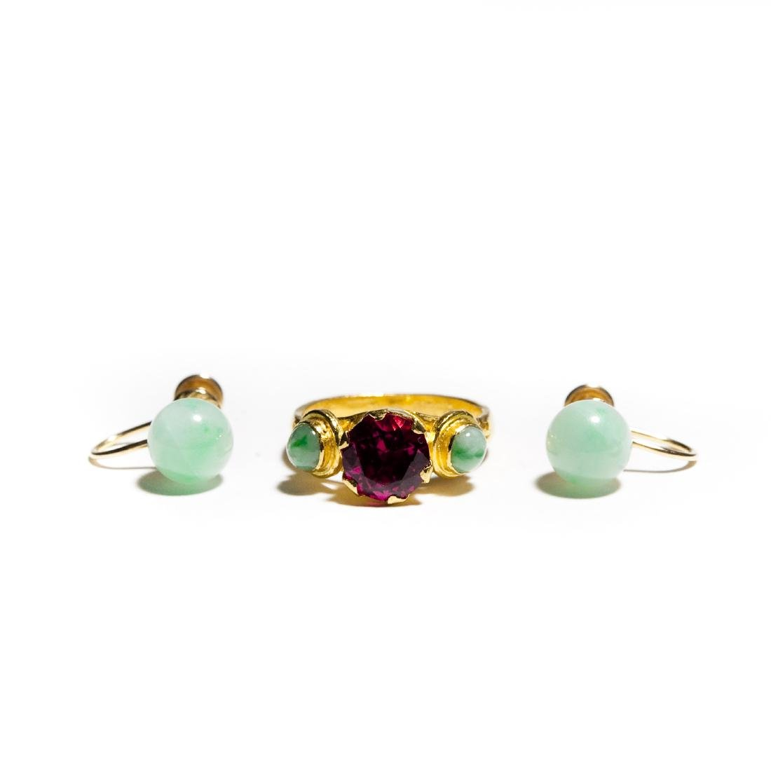 Chinese Jade And Ruby Gold Ring And Pair Of Earrings.