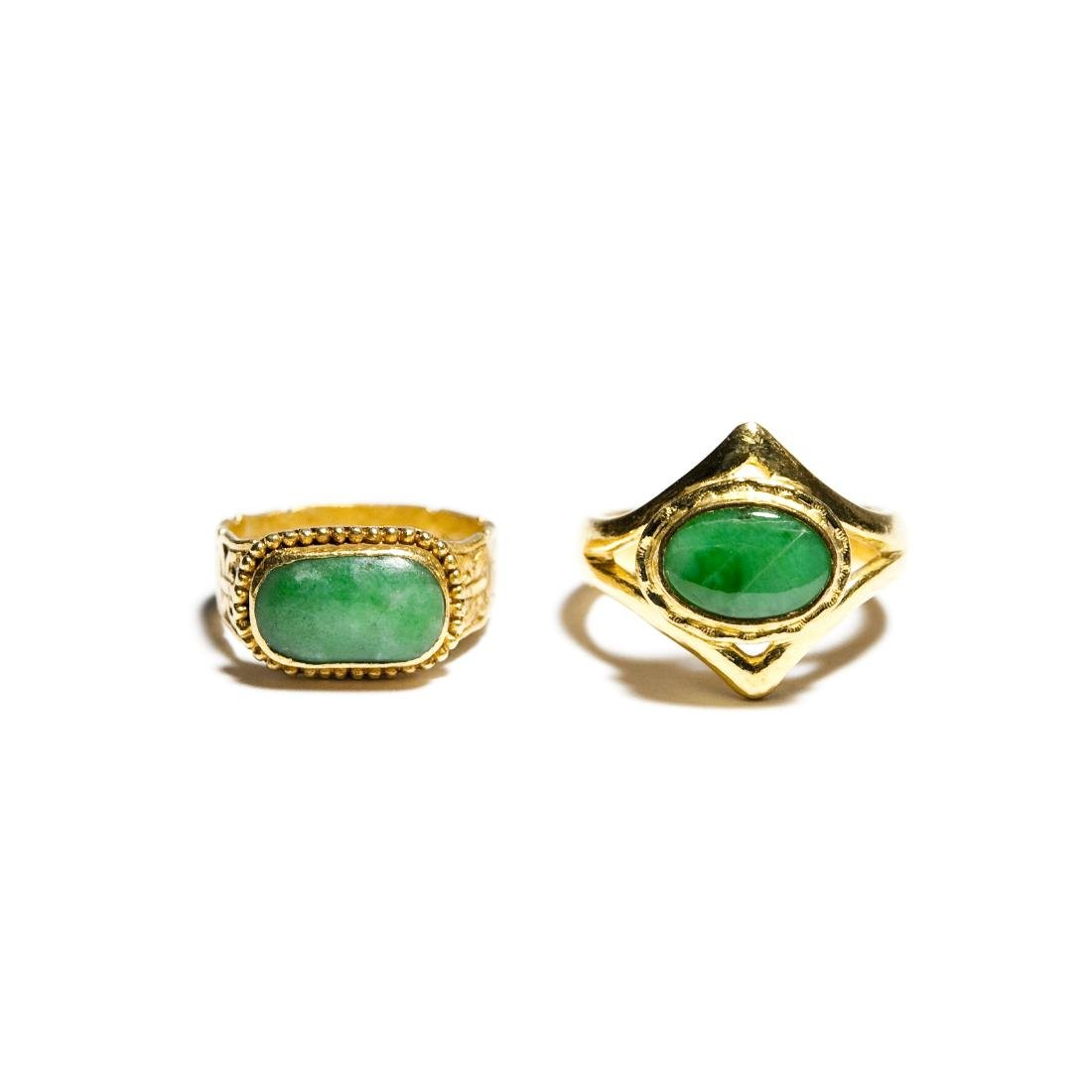 (2) Chinese Gold And Jade Rings.