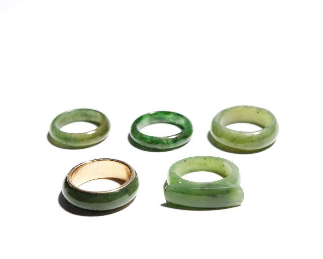 Group Of 5 Jade Rings.
