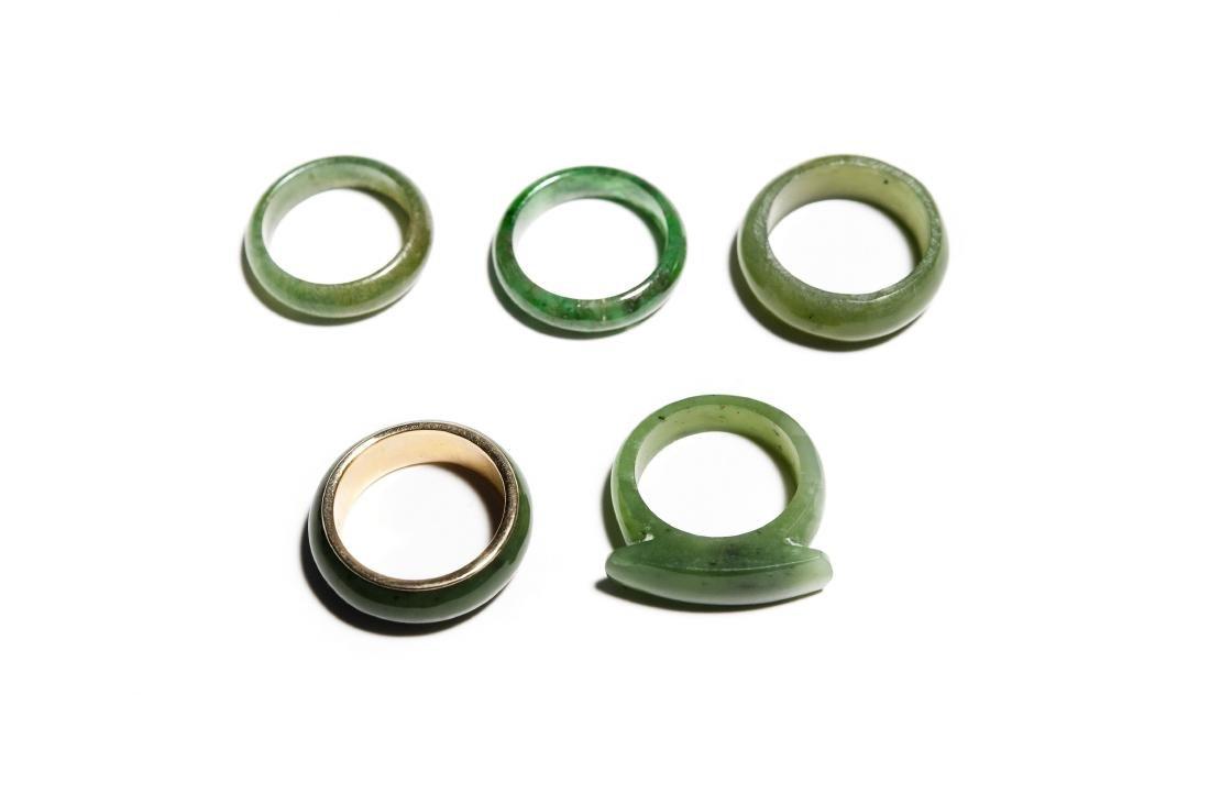 Group Of 5 Jade Rings. - 3