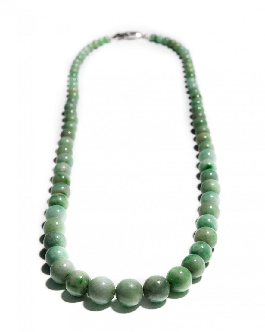 Single Strand Green Hard Stone Bead Necklace.