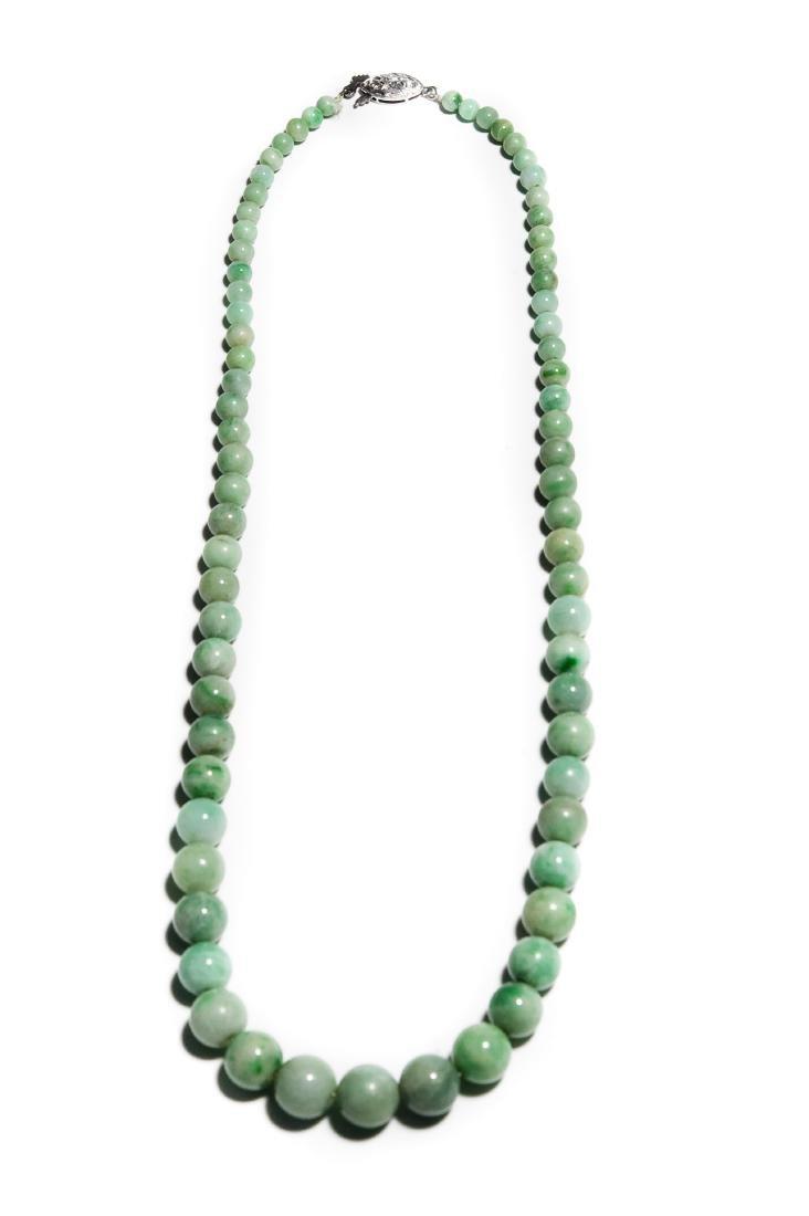 Single Strand Green Hard Stone Bead Necklace. - 2