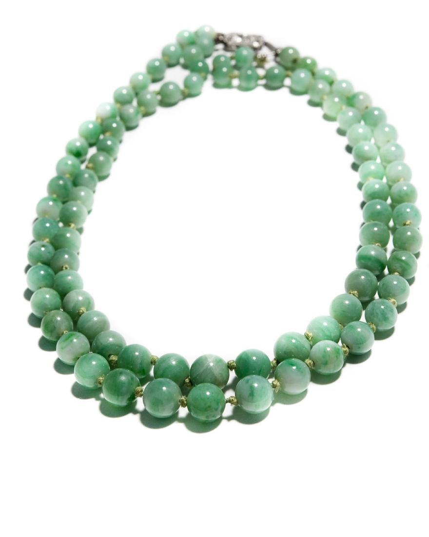 Double Strand Green Hard Stone Bead Necklace.
