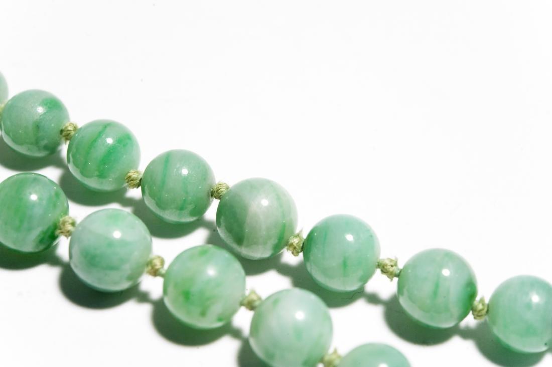 Double Strand Green Hard Stone Bead Necklace. - 3