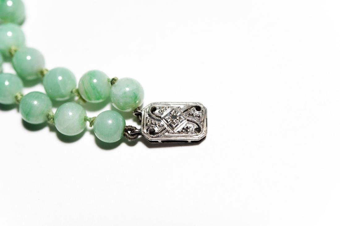 Double Strand Green Hard Stone Bead Necklace. - 4