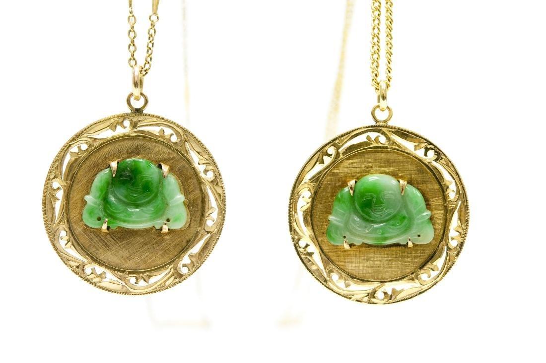 (2) Chinese Gold And Jade Buddha Pendants.