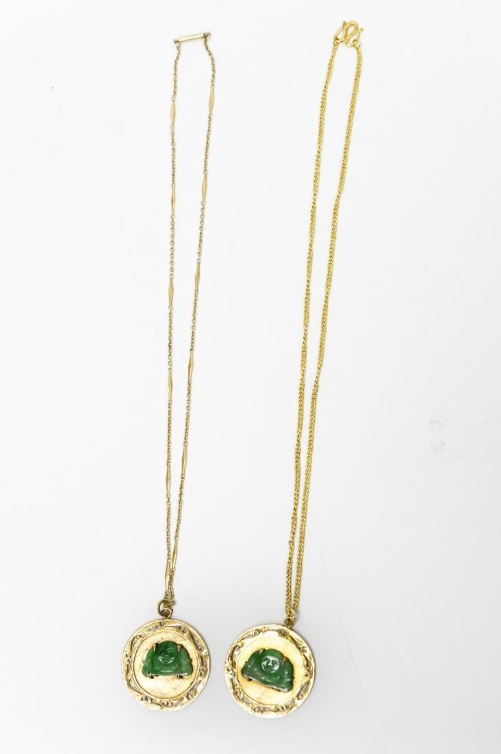 (2) Chinese Gold And Jade Buddha Pendants. - 3