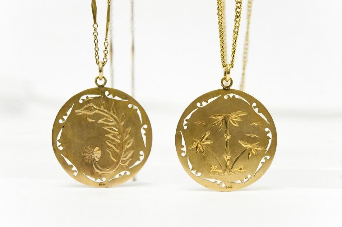 (2) Chinese Gold And Jade Buddha Pendants. - 4