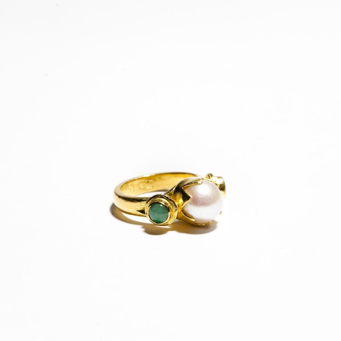 Chinese Gold, Jade And Pearl Ring & Earrings. - 2