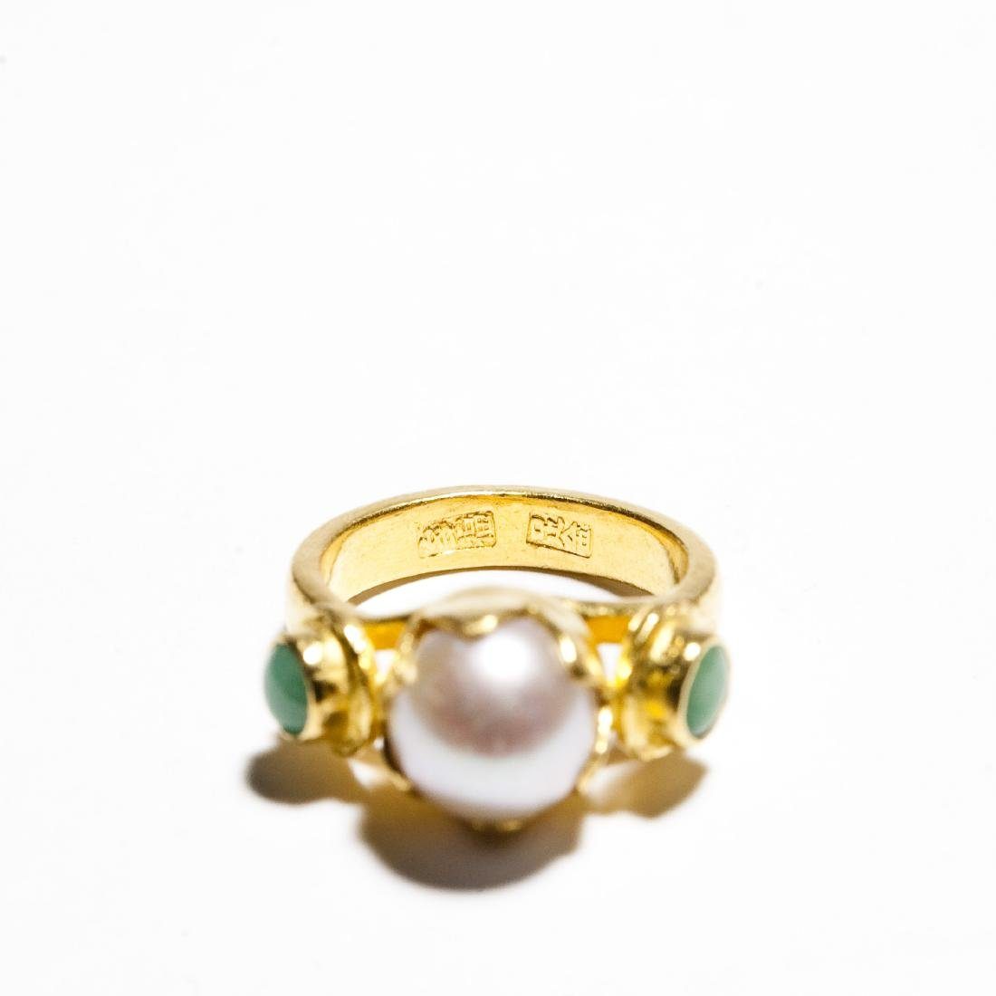 Chinese Gold, Jade And Pearl Ring & Earrings. - 3