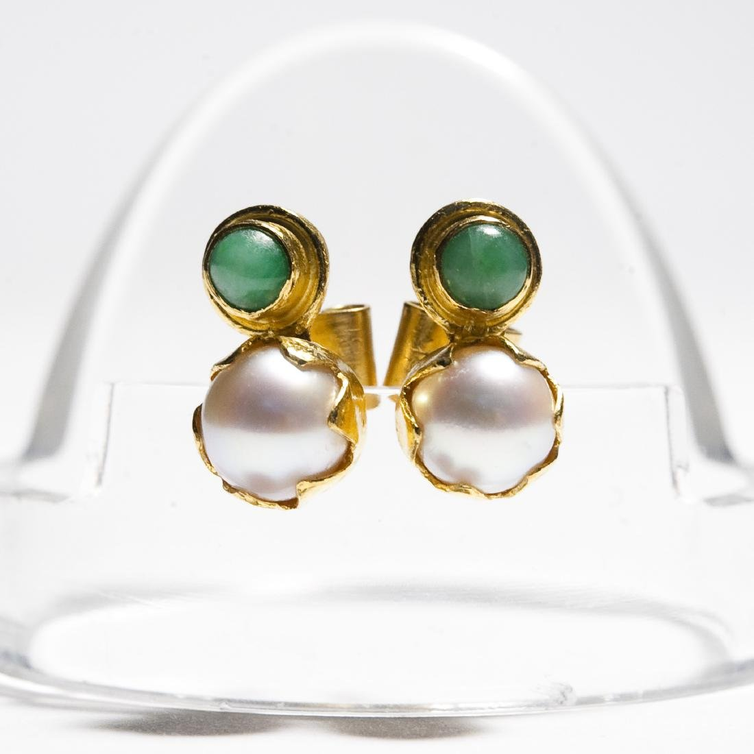 Chinese Gold, Jade And Pearl Ring & Earrings. - 5