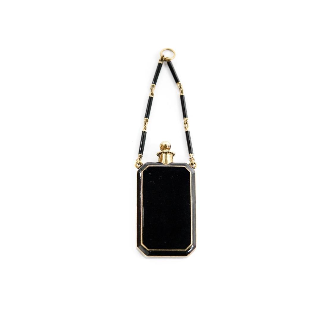 Tiffany & Co. 14K Enameled Perfume bottle/Vinaigrette.