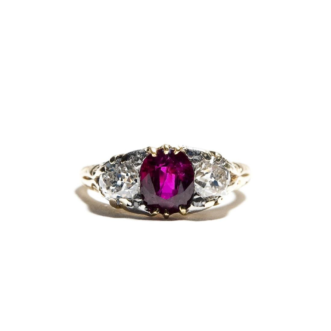 Vintage English Lady's Ruby and Diamond Ring.
