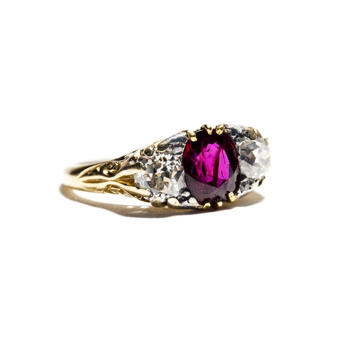 Vintage English Lady's Ruby and Diamond Ring. - 2