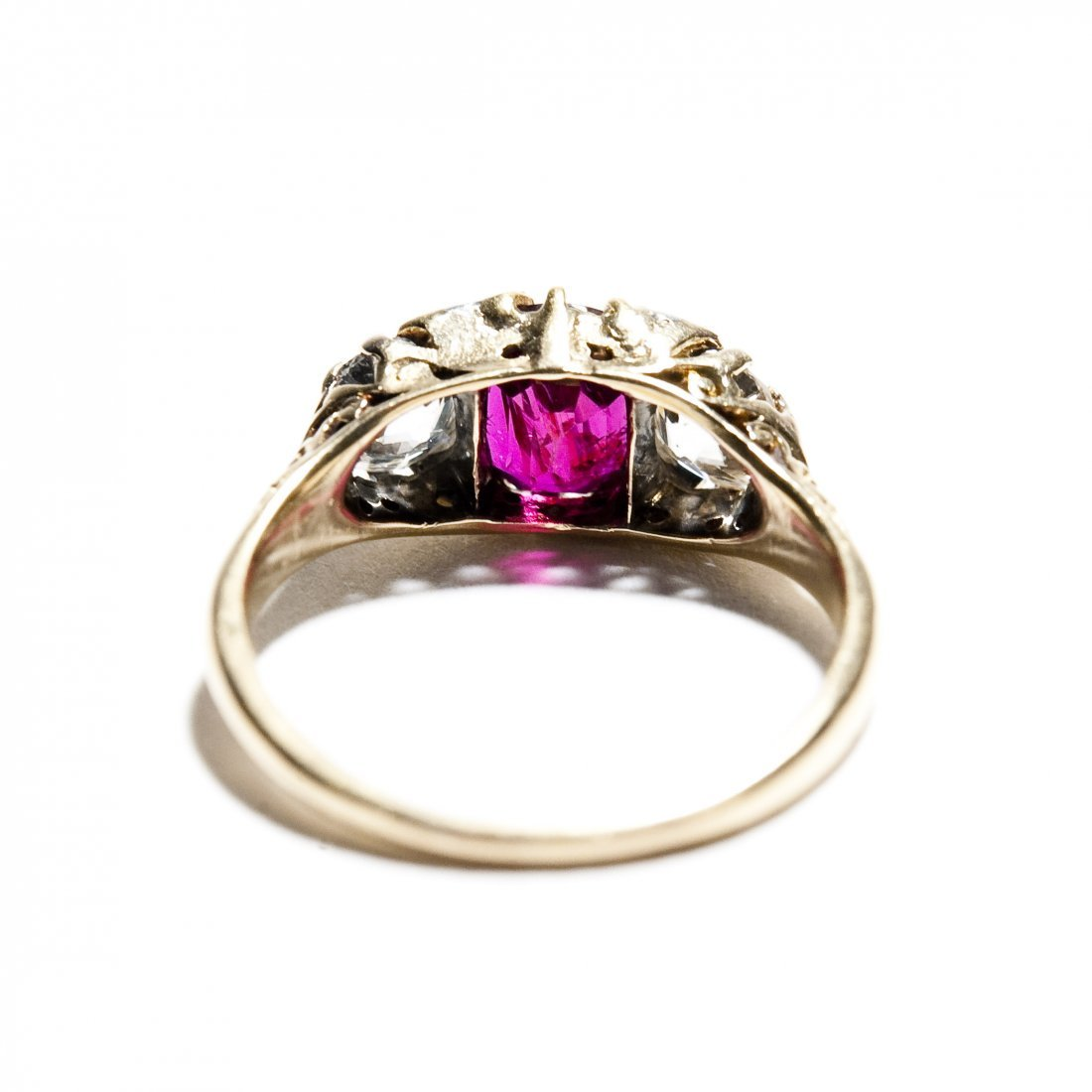 Vintage English Lady's Ruby and Diamond Ring. - 3