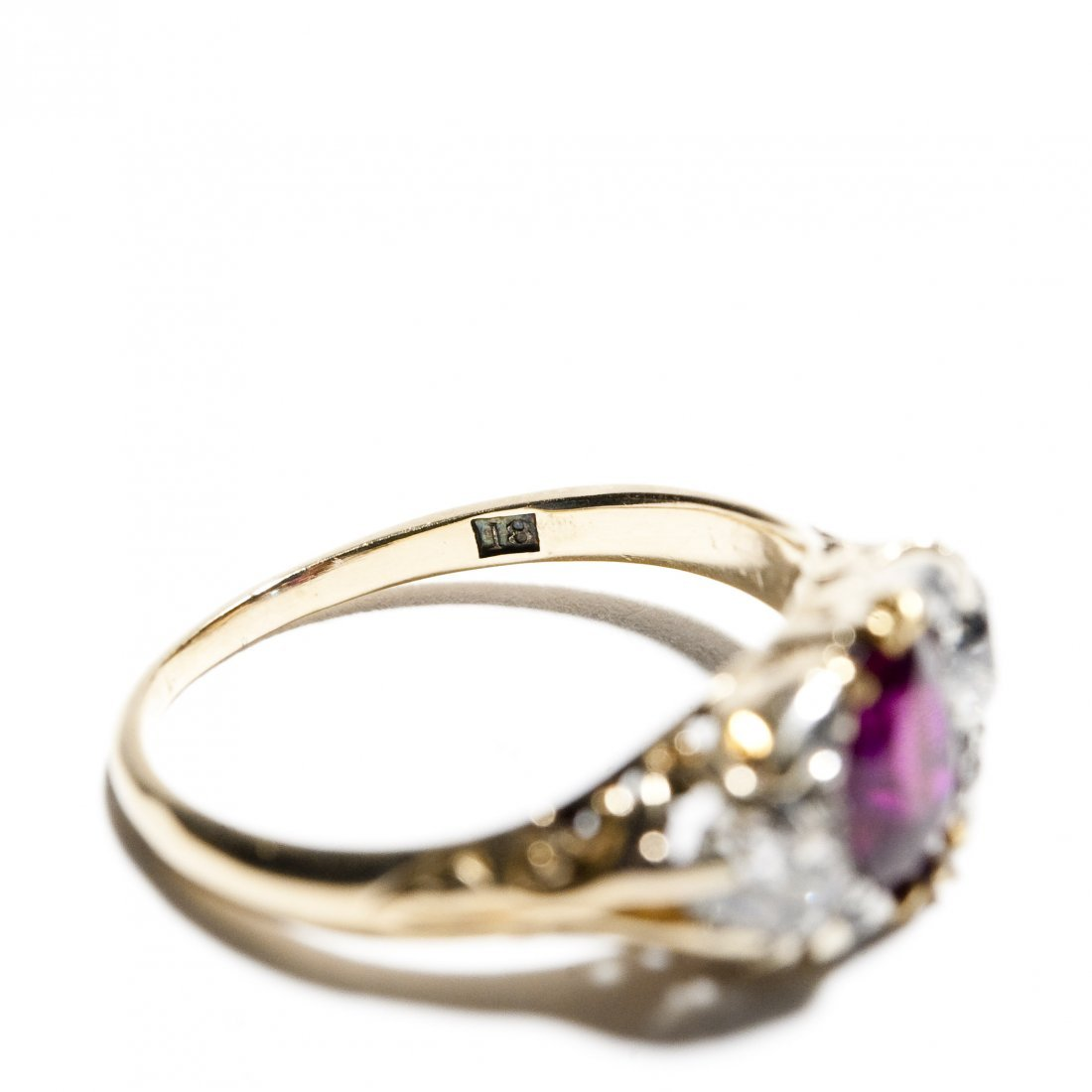 Vintage English Lady's Ruby and Diamond Ring. - 5