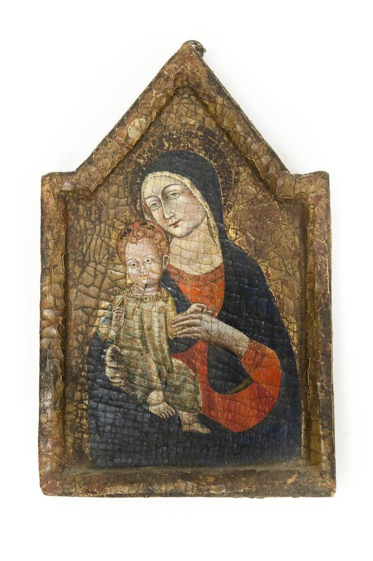 Early 20th C. Russian Iconic Panel, Madonna & Child.