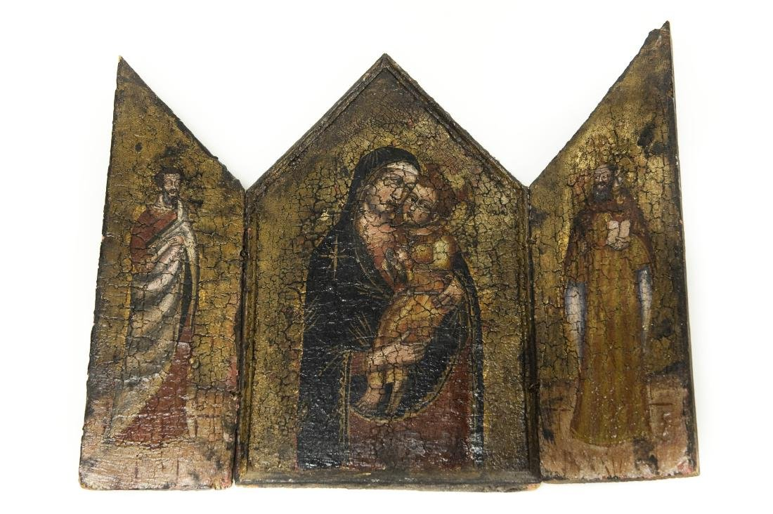Early 20th C. Russian Iconic Triptych Panel.