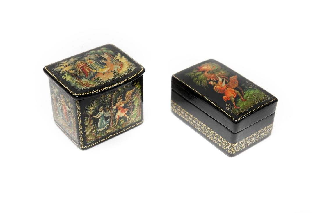(2) Palekh Russian Lacquer Boxes.