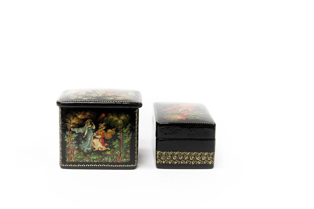 (2) Palekh Russian Lacquer Boxes. - 3