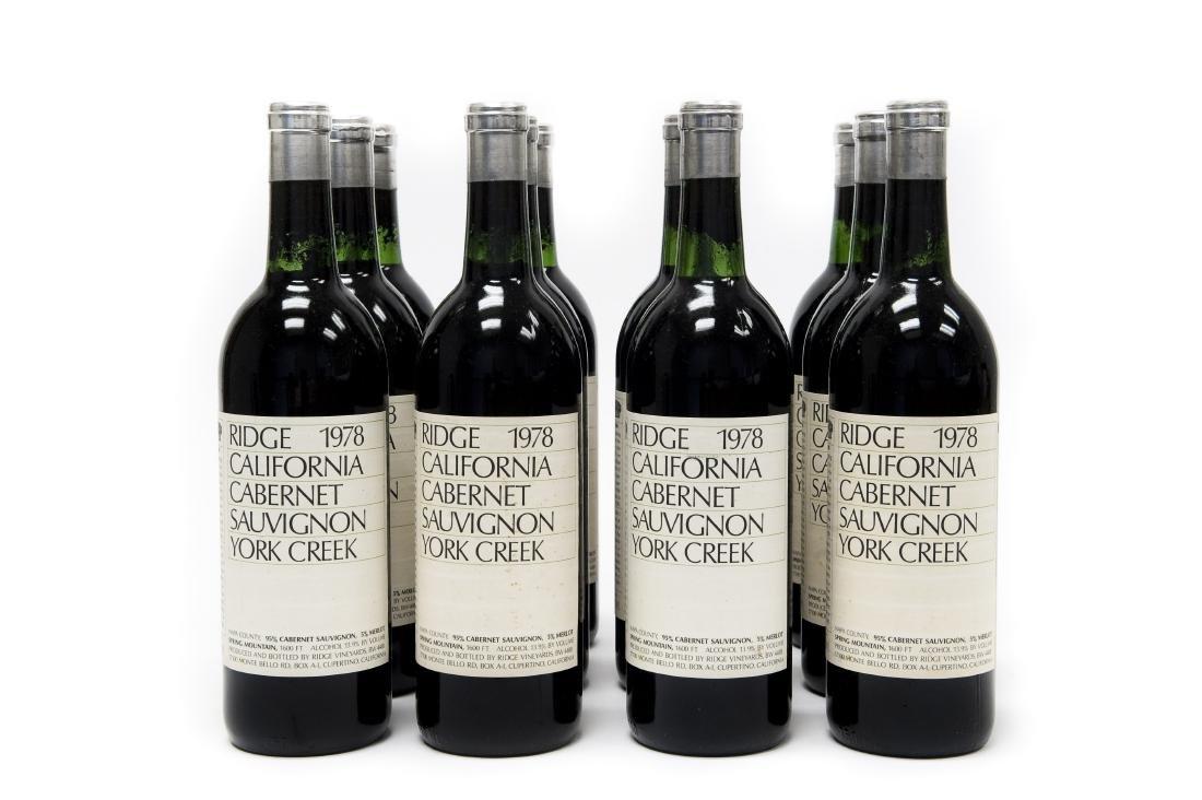 (12) Bottles, Ridge 1978 York Creek Cabernet.